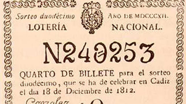 Uno de los primeros boletos para la lotería de navidad de año 1812
