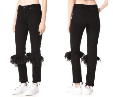 pantalones con encaje