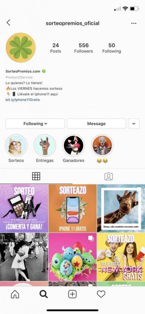 perfil instagram sorteopremios
