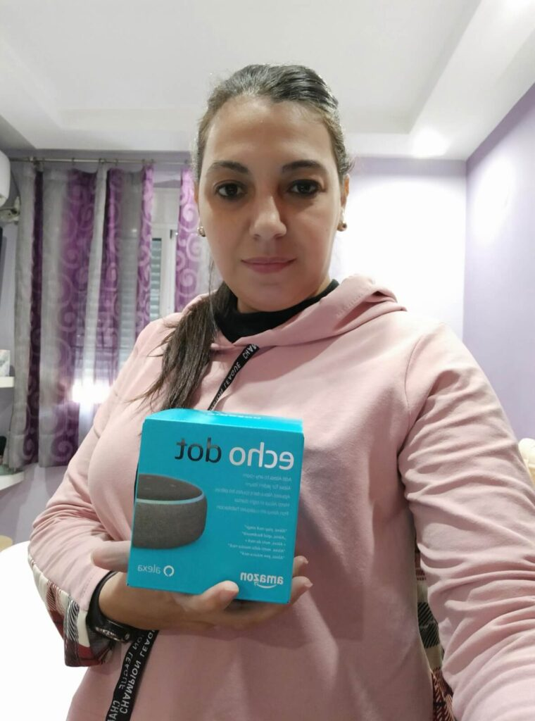 ganadora Alexa Echo Dot Mari Mamen