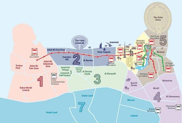 plano de dubai en el mapa